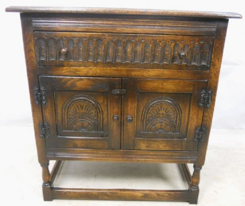 Antique Jacobean Style Carved Dark Oak Cupboard